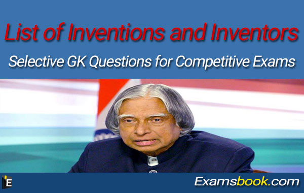 List of Inventions and Inventors GK Questions